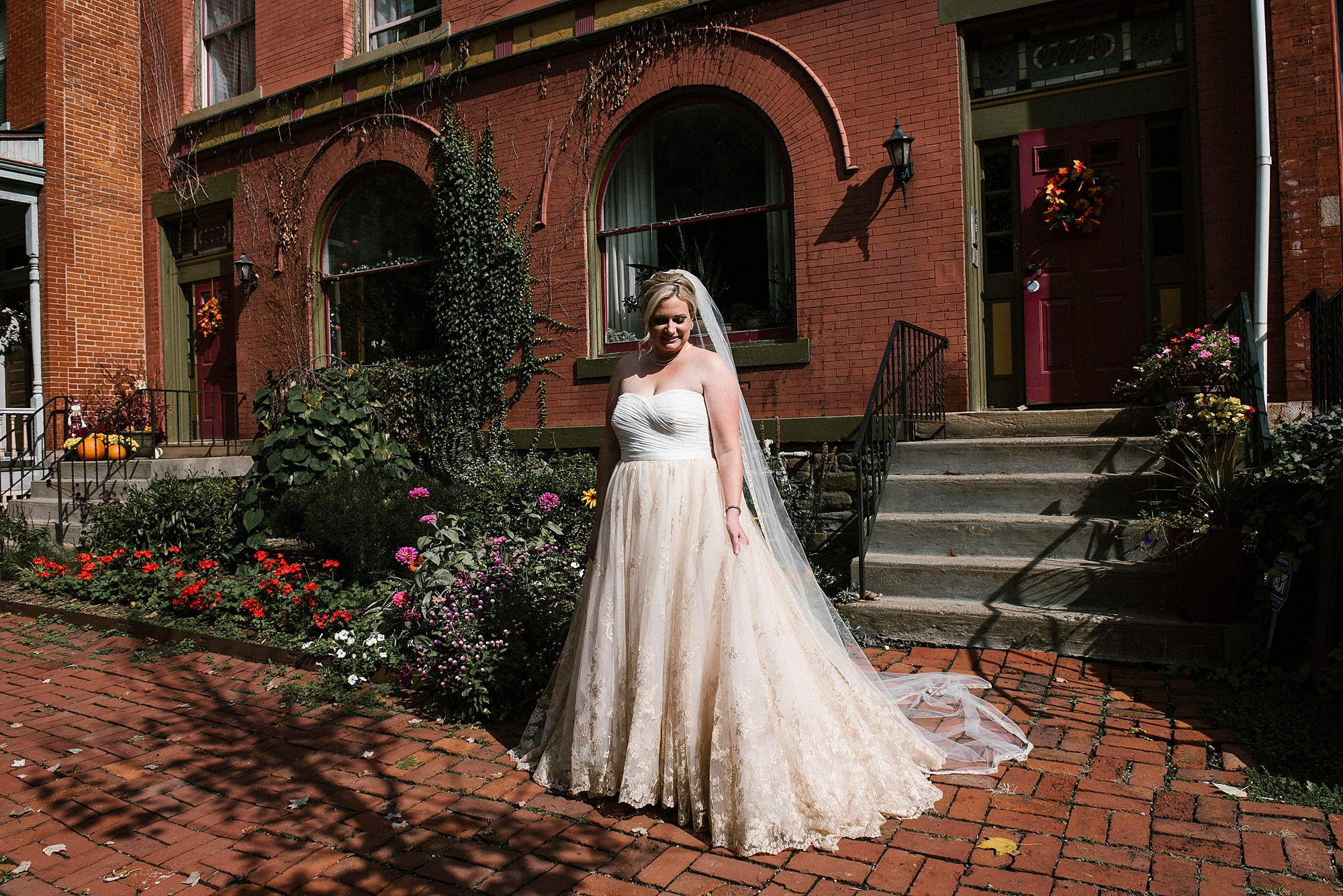 Pittsburgh bride gold wedding dress