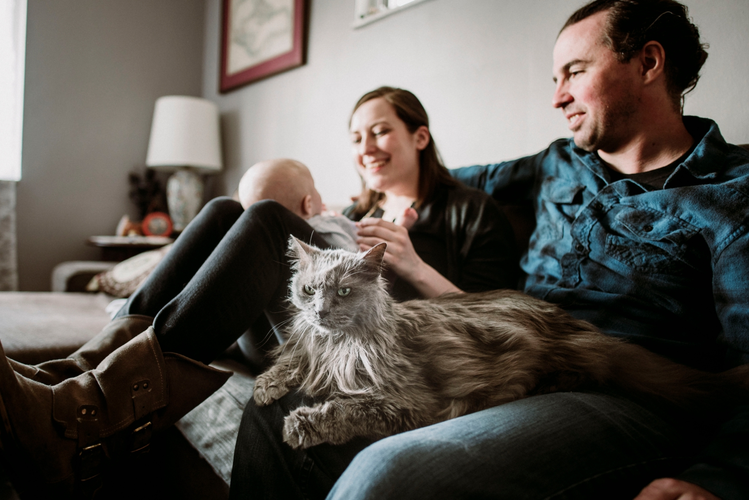 Family session with cats
