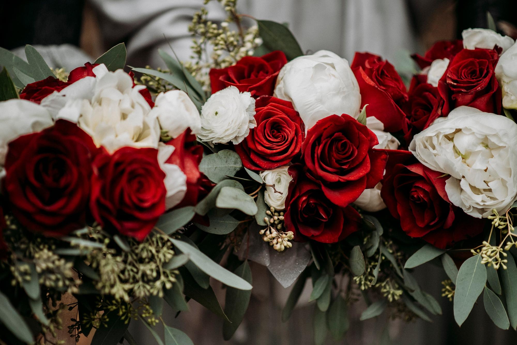 roses eucalyptus wedding flowers
