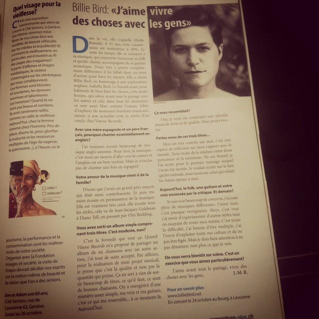 Une interview dans génération plus 😊 📰! #generationplus #magazine #billiebird