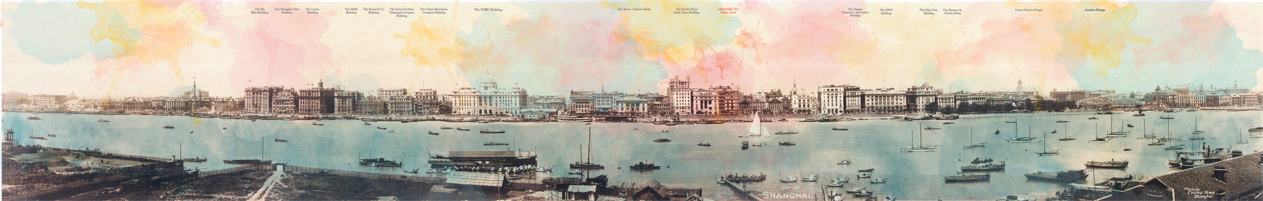 An iconic image of the Bund with watercolor interventions.