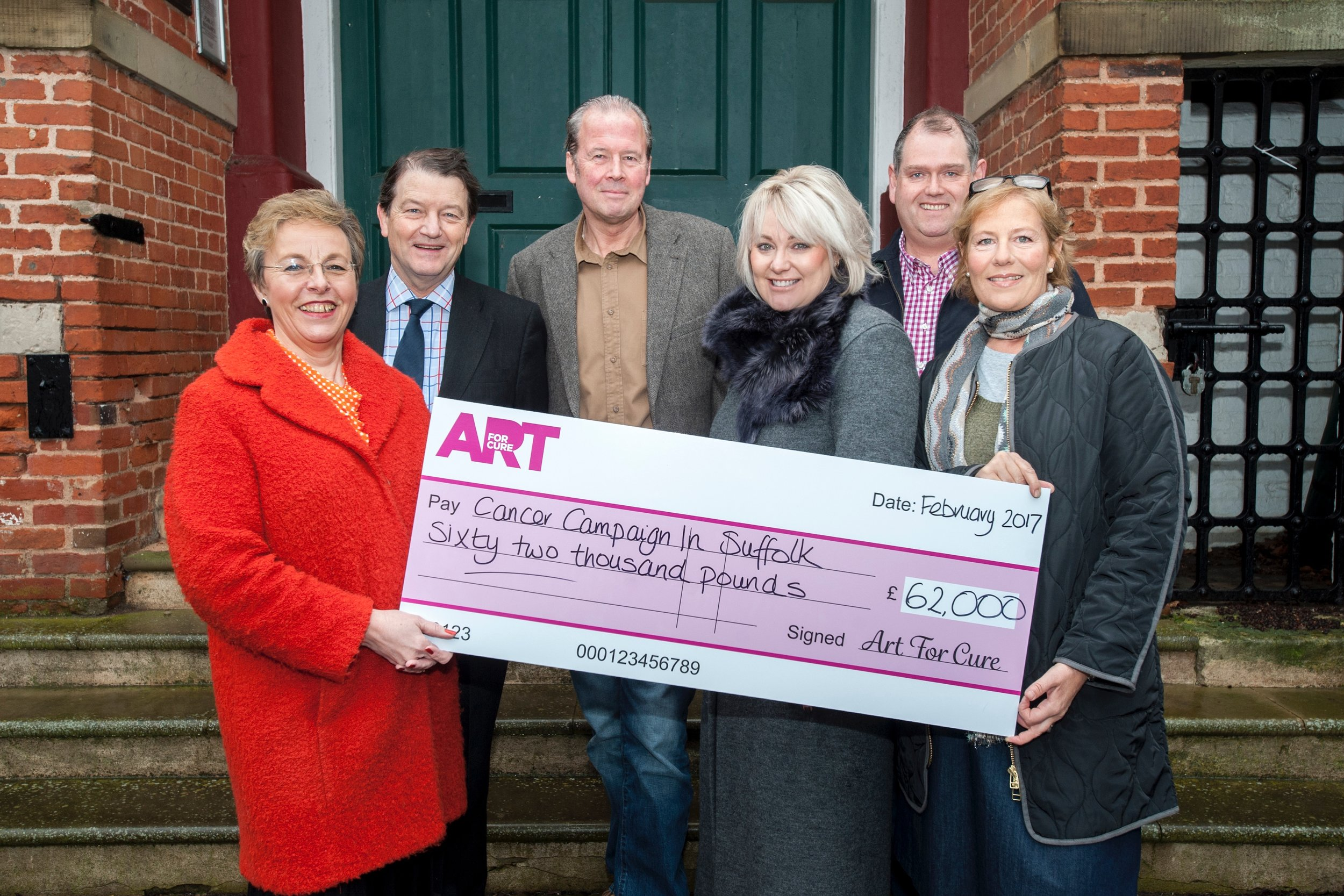 From left to right: Karen Hare, CEO CCiS, Tim Cutler and Jonny Ripman , Trustees of CCiS, Emma Lloyd, Adrian Melrose and Belinda Gray, all Directors of Art For Cure
