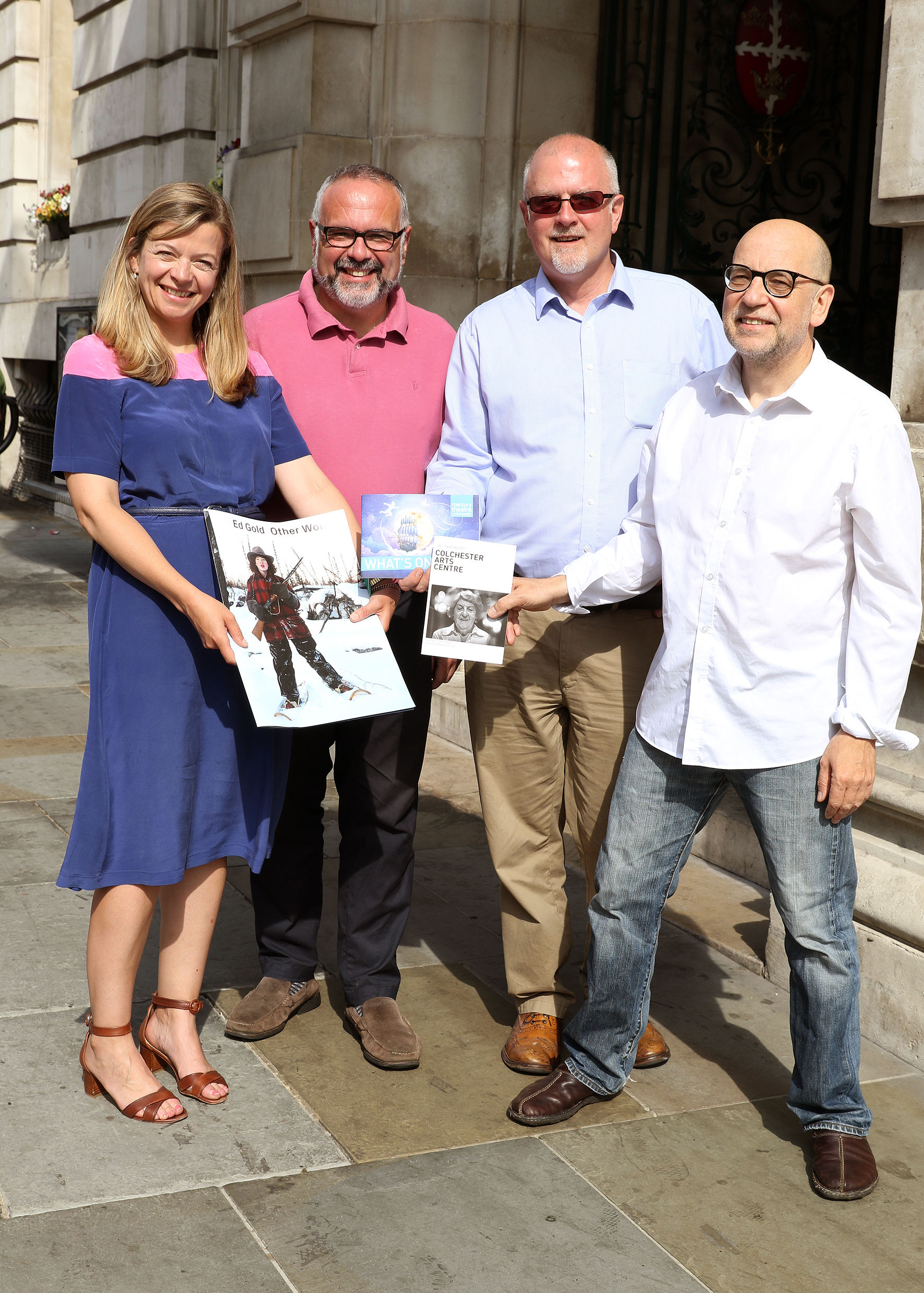 From L-R: Sally Shaw (Director of Firstsite) Cllr Tim Young (Deputy Leader, Colchester Borough Council), Steve Mannix (Executive Director, Mercury Theatre Colchester), Anthony Roberts (Director, Colchester Arts Centre).