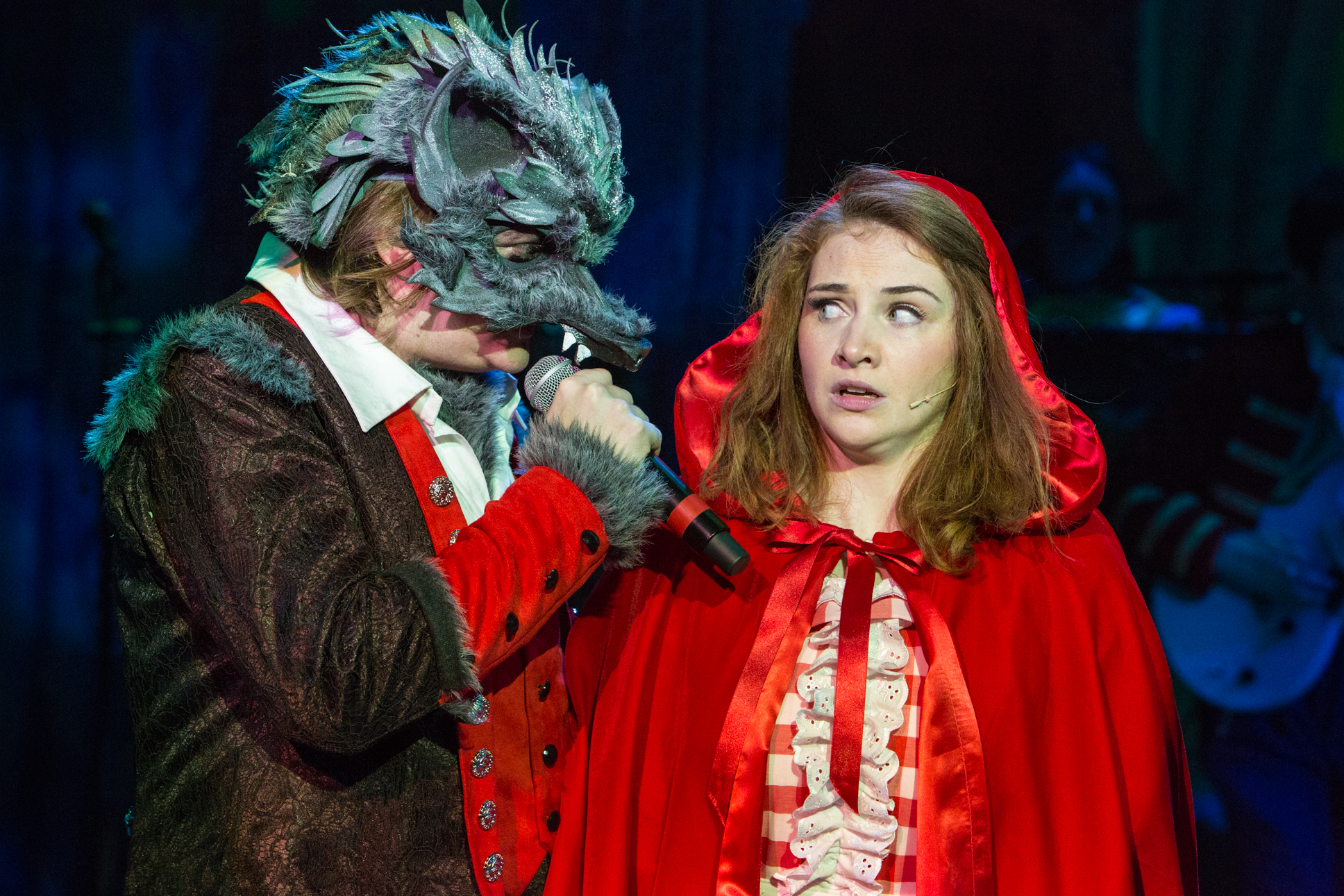 Rob Falconer as The Wolf and Lucy Wells as Red Riding Hood. Red Riding Hood at the New Wolsey Theatre. Photo Mike Kwasniak.jpg
