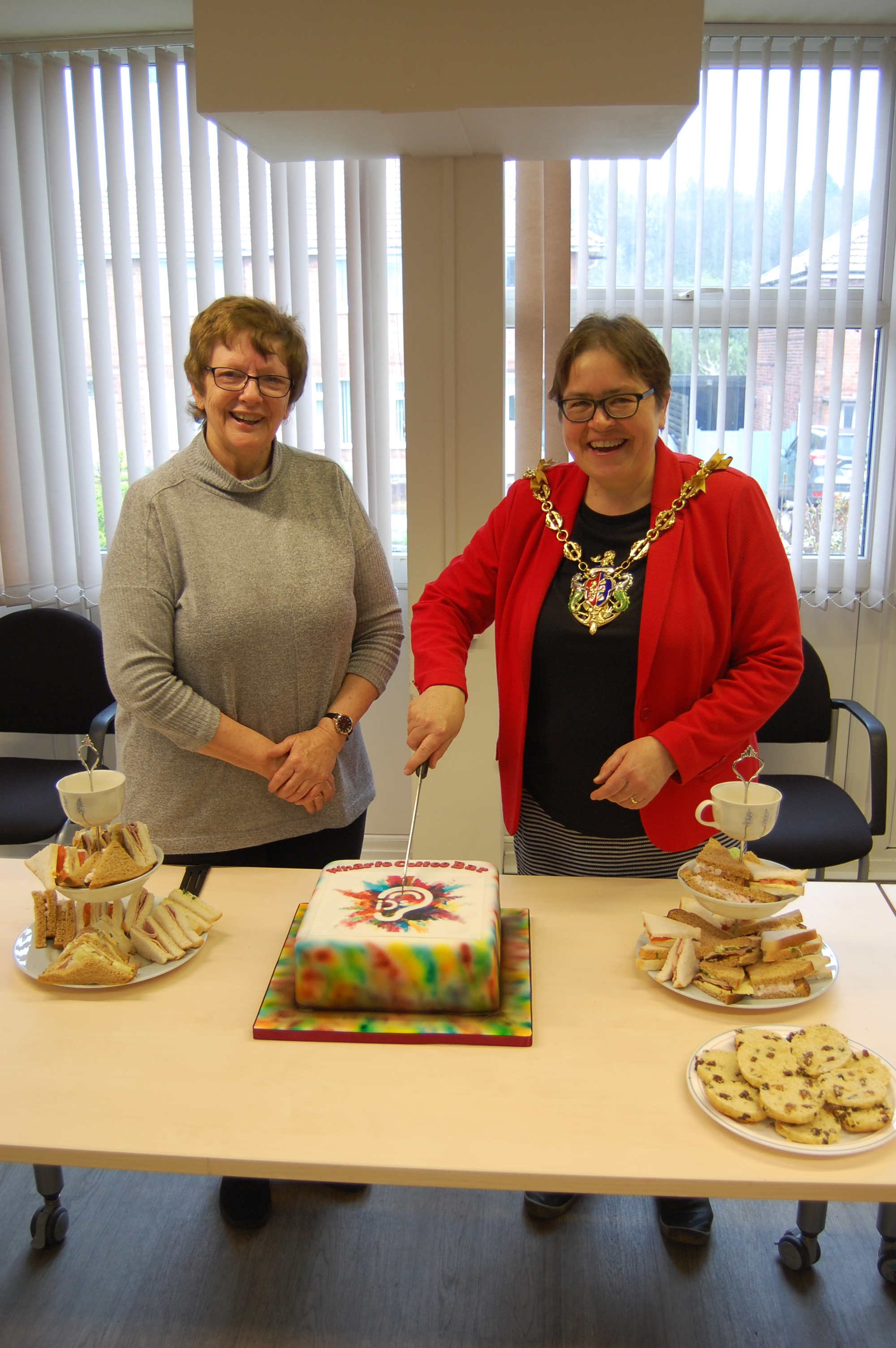 Mayor of Ipswich Councillor Jane Riley cuts commemorative cake with IDS Chair Alison Berry
