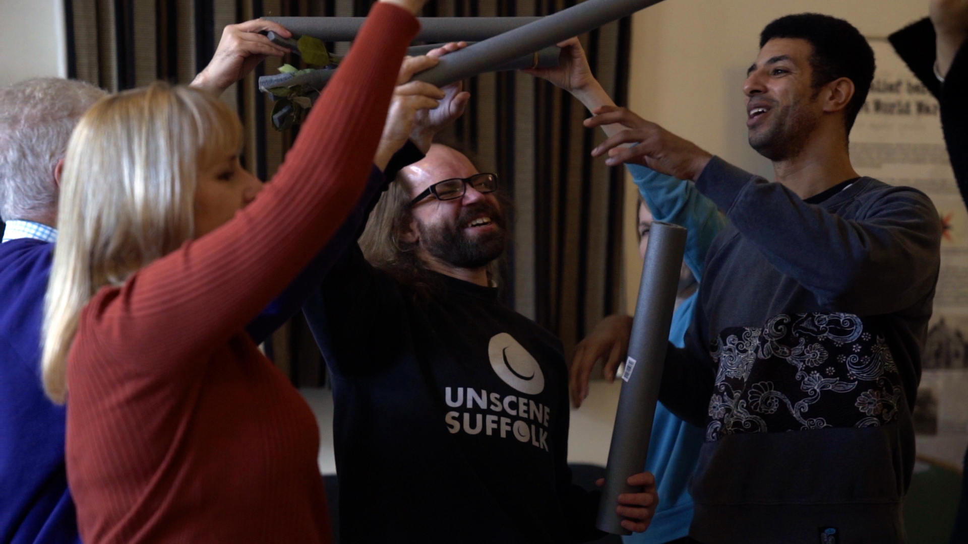 Nathan Geering with cast members rehearsing 'The Tree of Dreams''. Credit Daniel McKee.jpg
