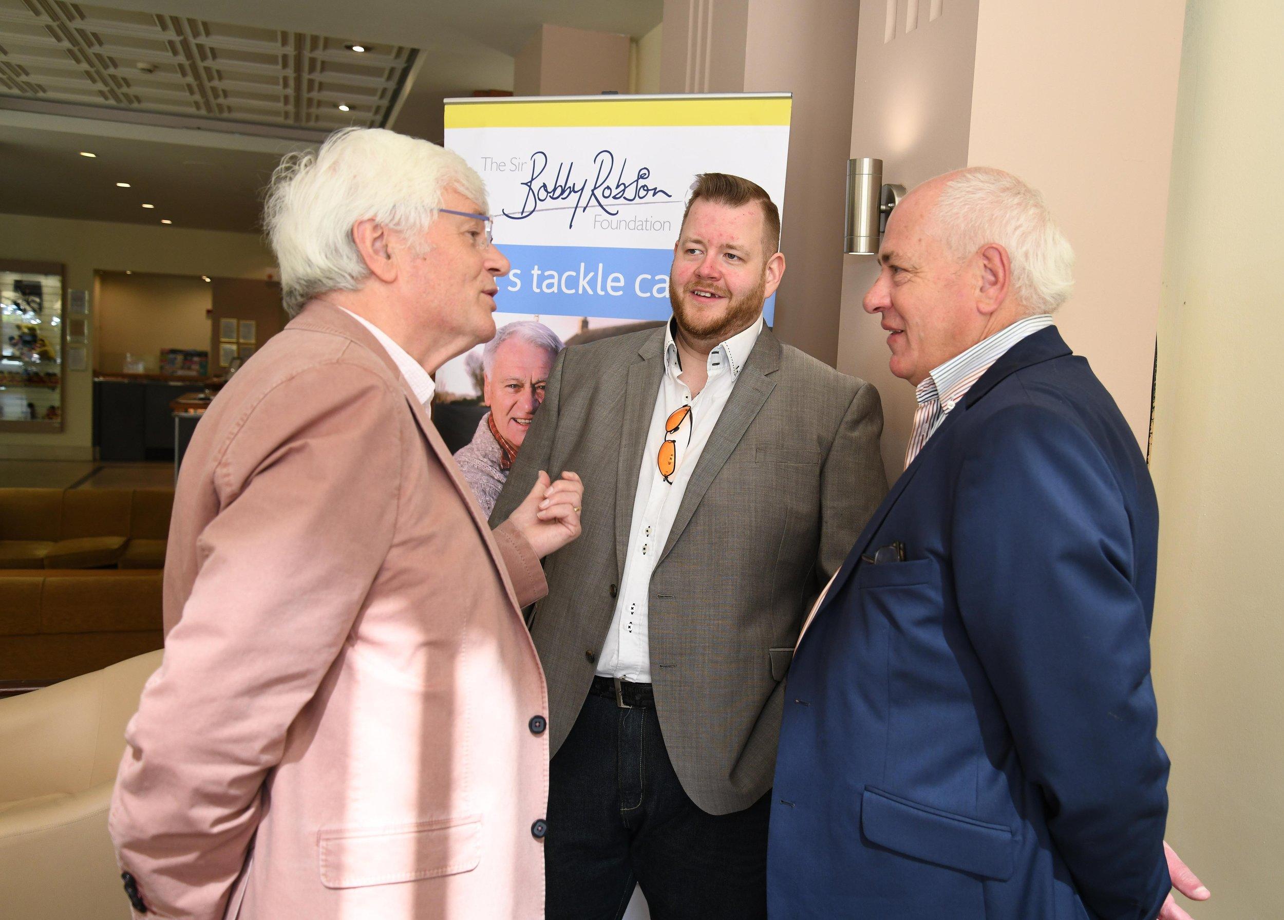 Tom Kelly and Gareth Hunter talking to Andrew Robson Sir Bobbys son.jpg
