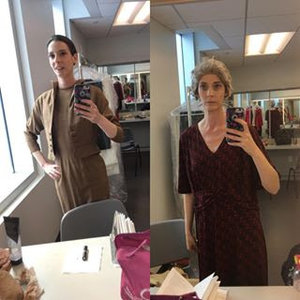 Helga in  Kindertransport.  Left, Act 1. Right, Act 2.