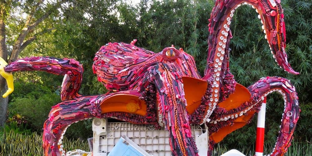 """The giant octopus displayed at the """"Washed Ashore: Art to Save the Sea"""" Exhibit. Photo courtesy of The National Zoo."""