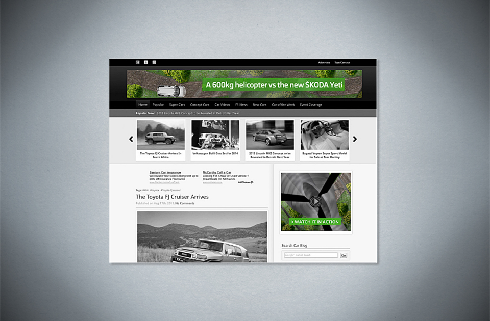 Skoda , 'Be prepared for something wild  ' – s yncing banners with helicopter chasing car across them