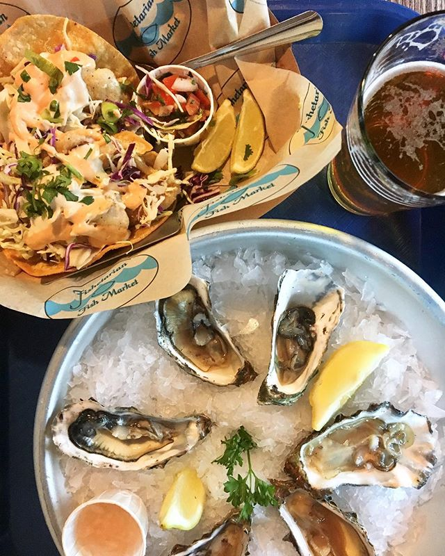 Christmas Eve seafood feast with fresh oysters + grilled fish tacos + Pliny the Elder IPA 🍺  #coasttoroastgoescoasttocoast