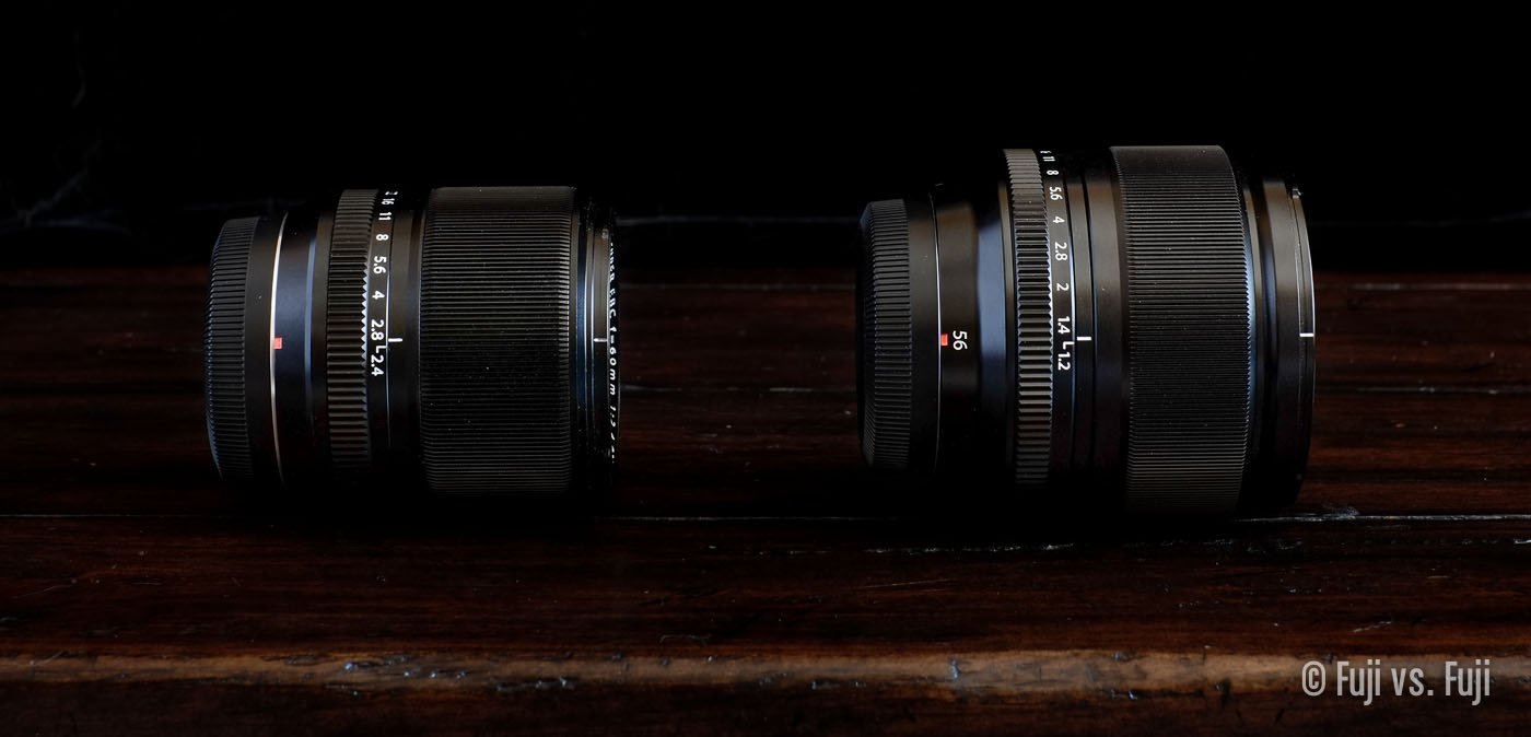 The relatively diminutive 60mm f/2.4 left, and the hulking 56mm f/1.2 right