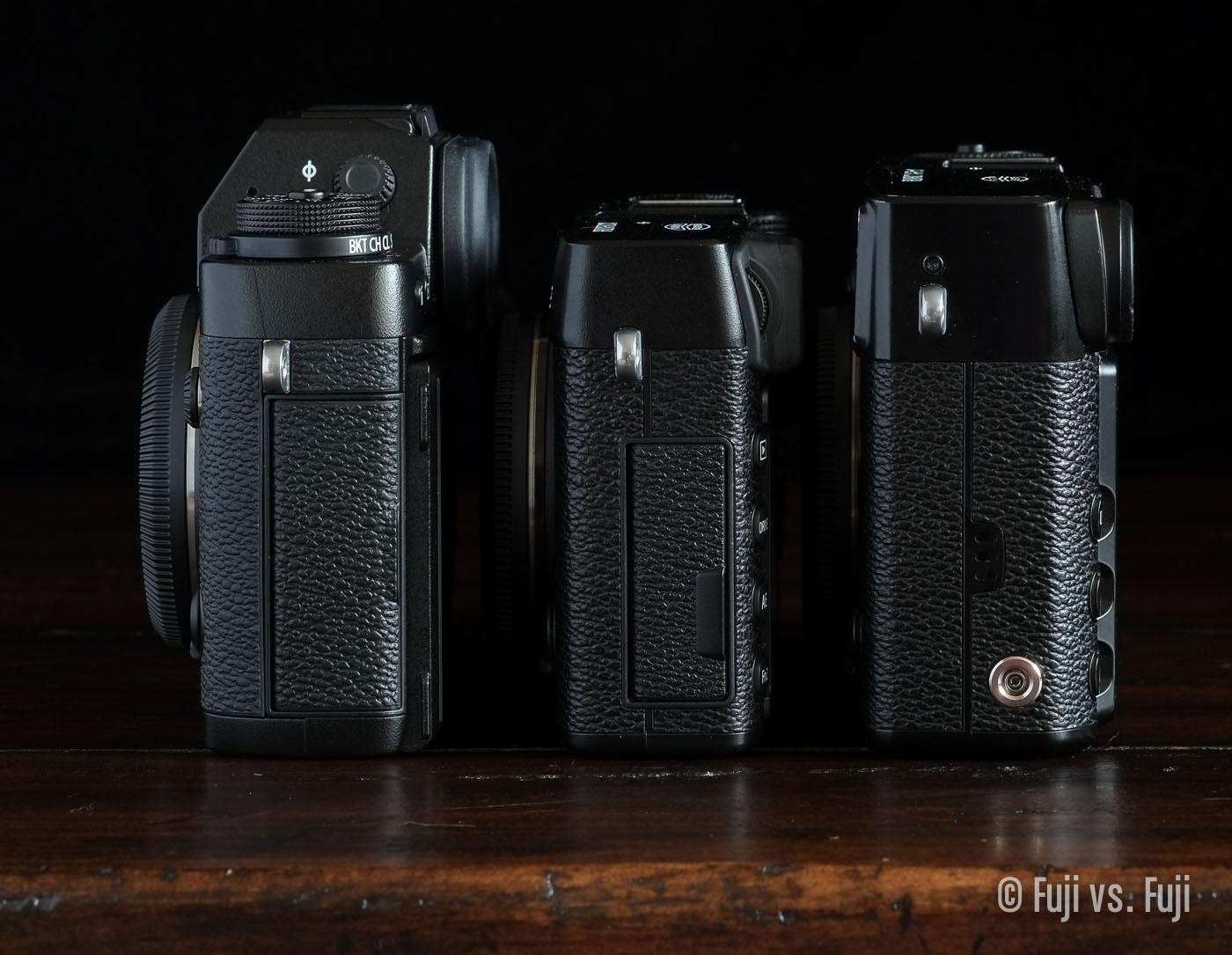 The  Fujifilm X-T1, X-E2, and X-Pro1