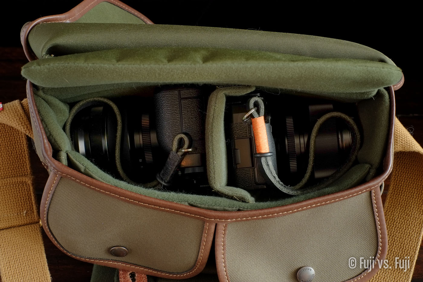 Two cameras easily fit in the Hadley small
