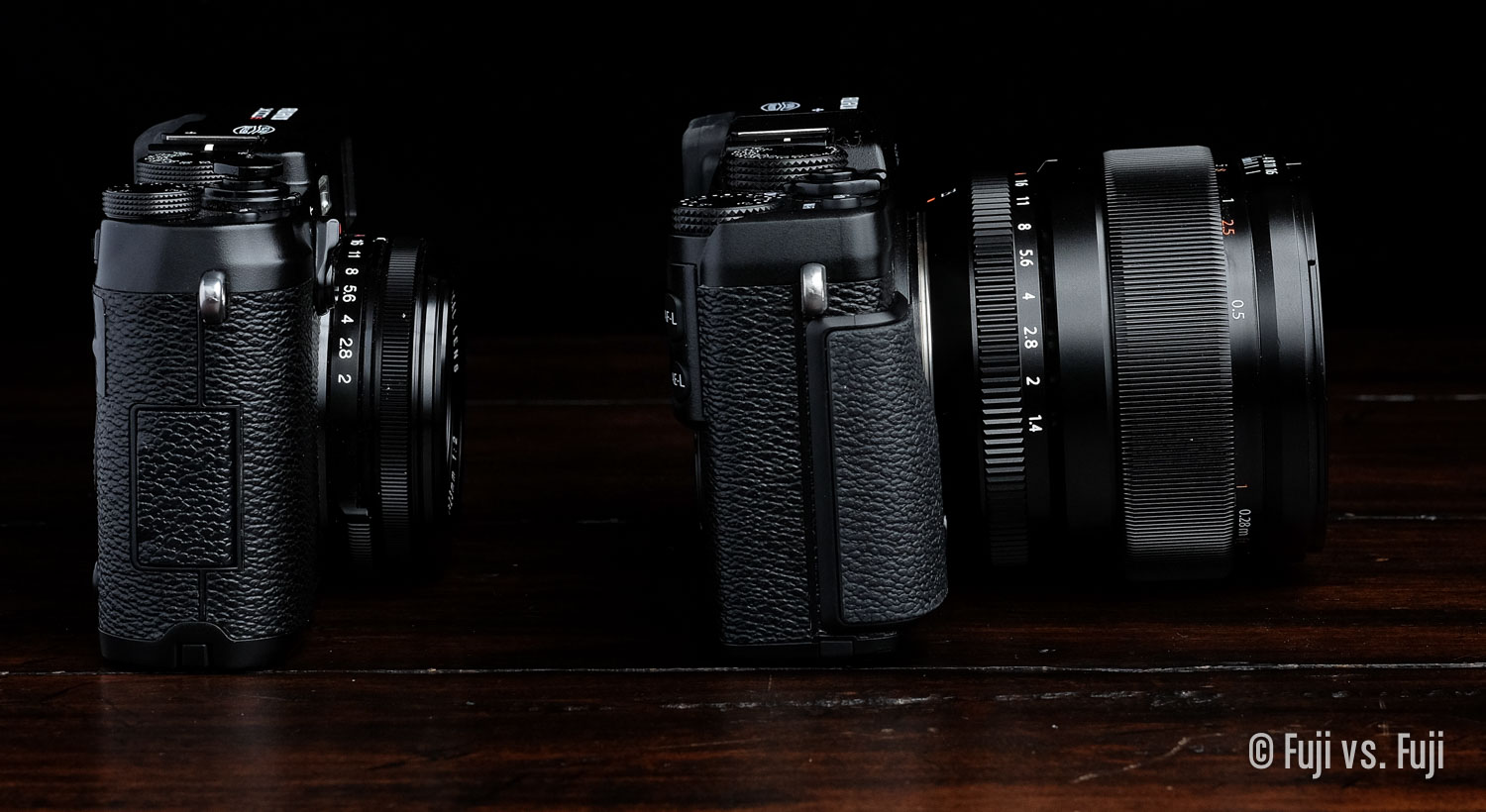 The23mm f/1.4 is large enough that it doesn't let an X-E camera sit flat. It's also enormous next to the X100S.