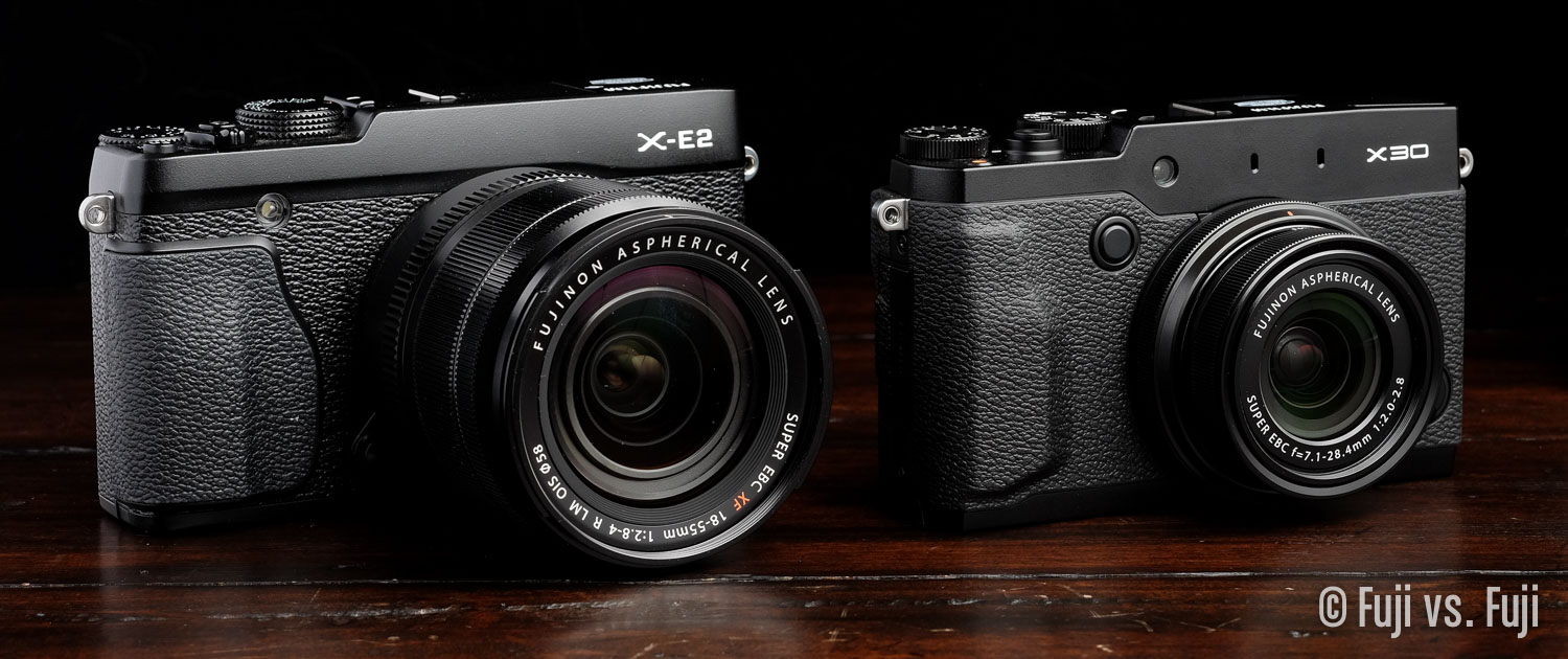 The X-E2 with 18-55mm next to the X30