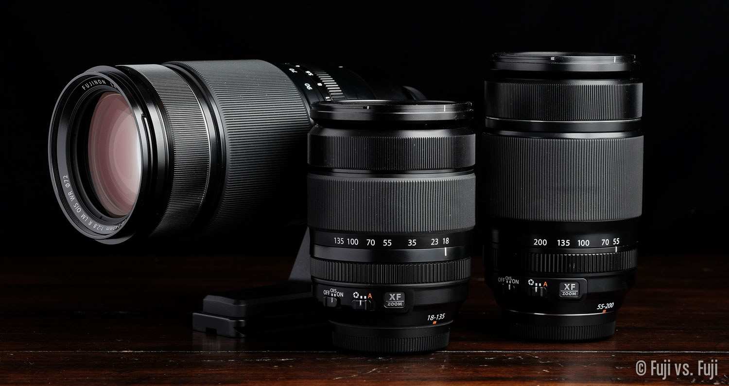 The Fuji 50-140mm f/2.8, 18-135mm f/3.5-5.6, and 55-200mm f/3.5-4.8