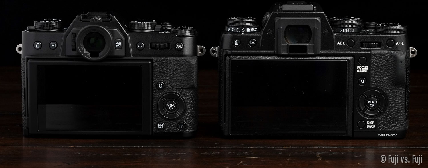 Fuji X-T10 and X-T1 rear view – Apologies for the missing eye cup on the X-T1, didn't realize I'd lost it