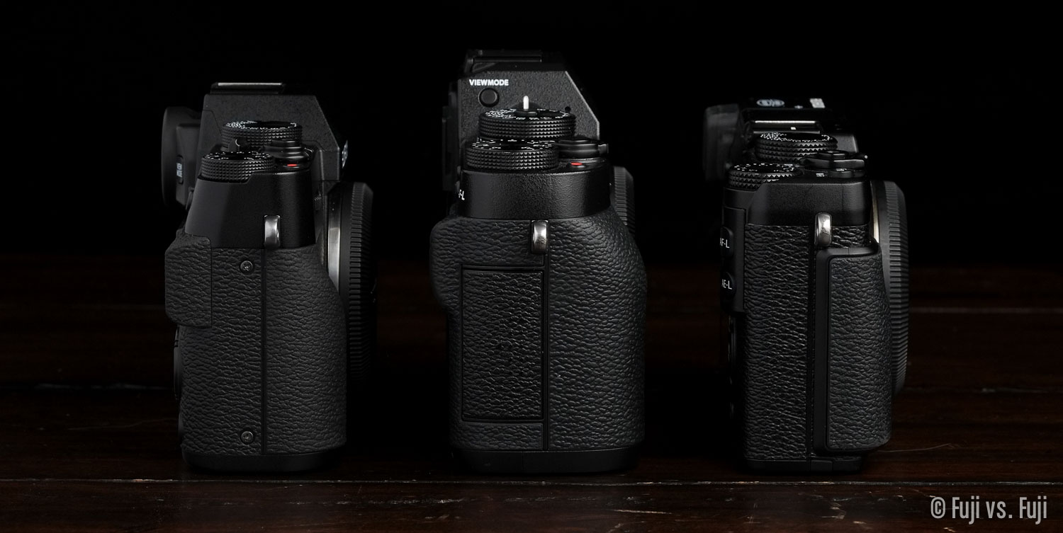 Fuji X-T10, X-T1, and X-E2 side view