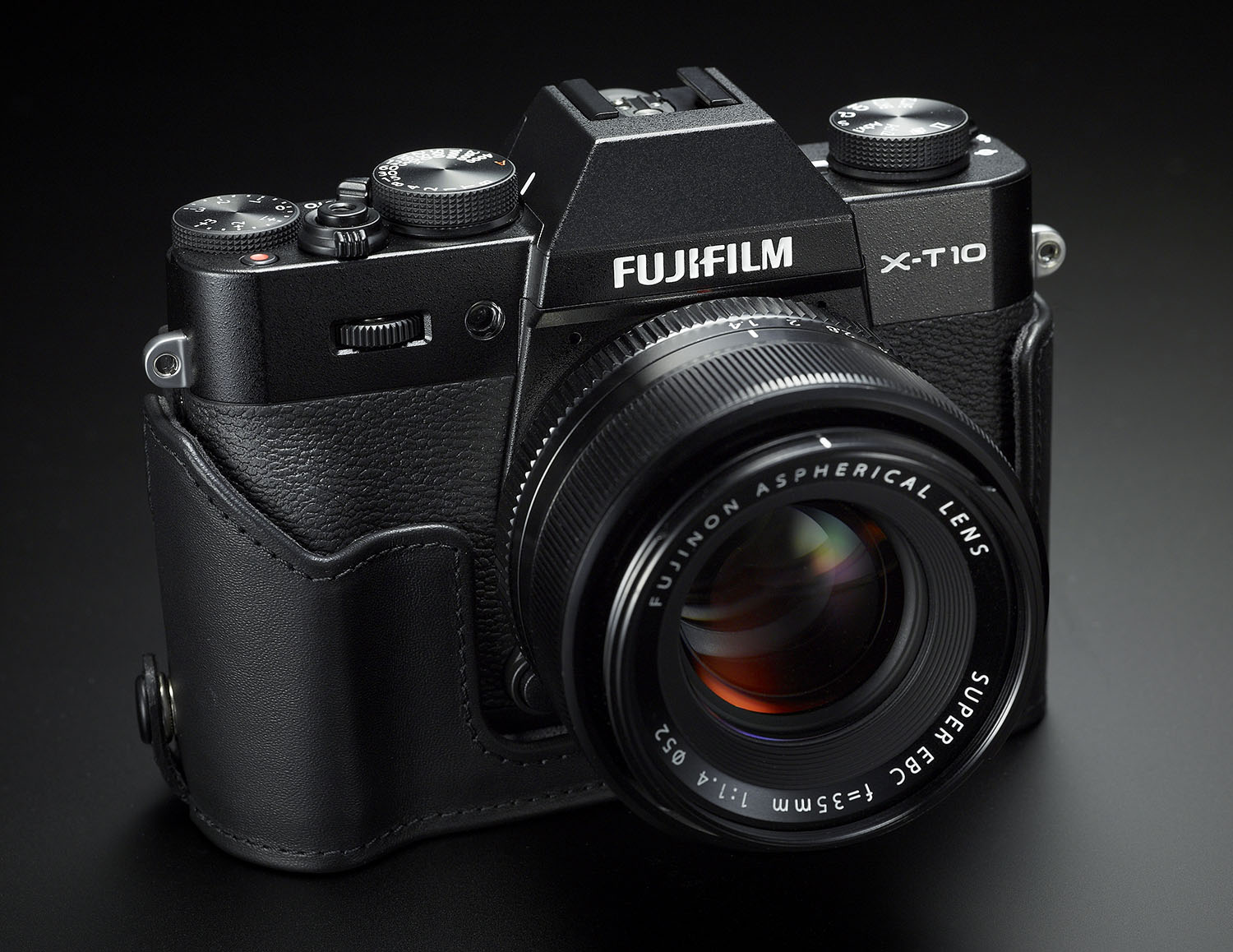 Fuji's X-T10 with half case – Image courtesy of Fujifilm Canada.