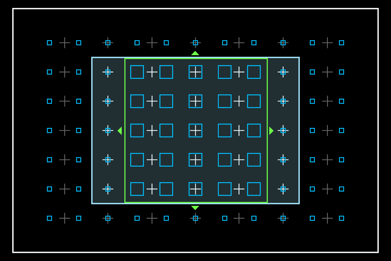 How the5 × 5 Zone would overlay the X100T's OVF