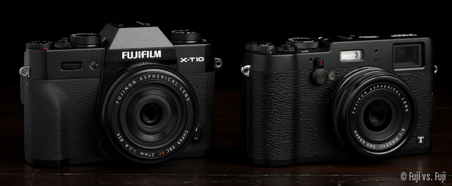 The X-T10 with XF 27mm f/2.8 compared to the X100T