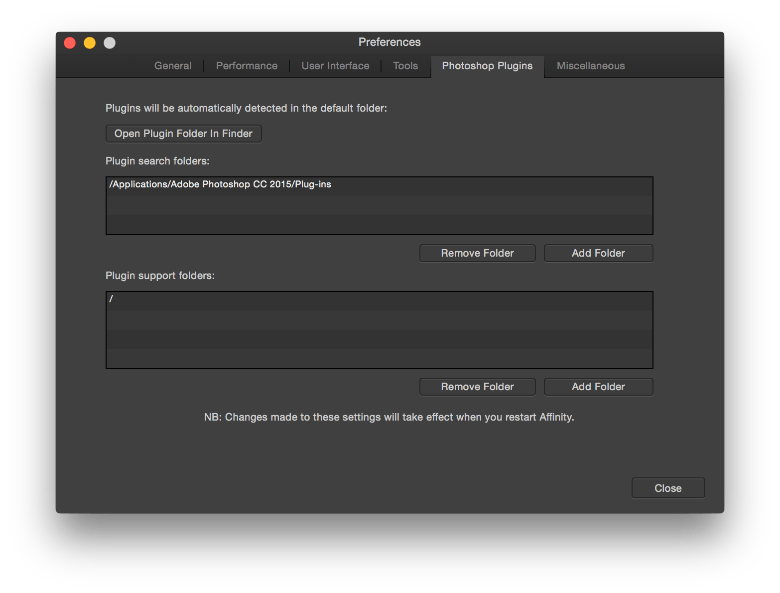 "To get ""/"" you need to point Affinity Photo to your boot volume. Hit Command+Shift+C, then double click your start-up disk."