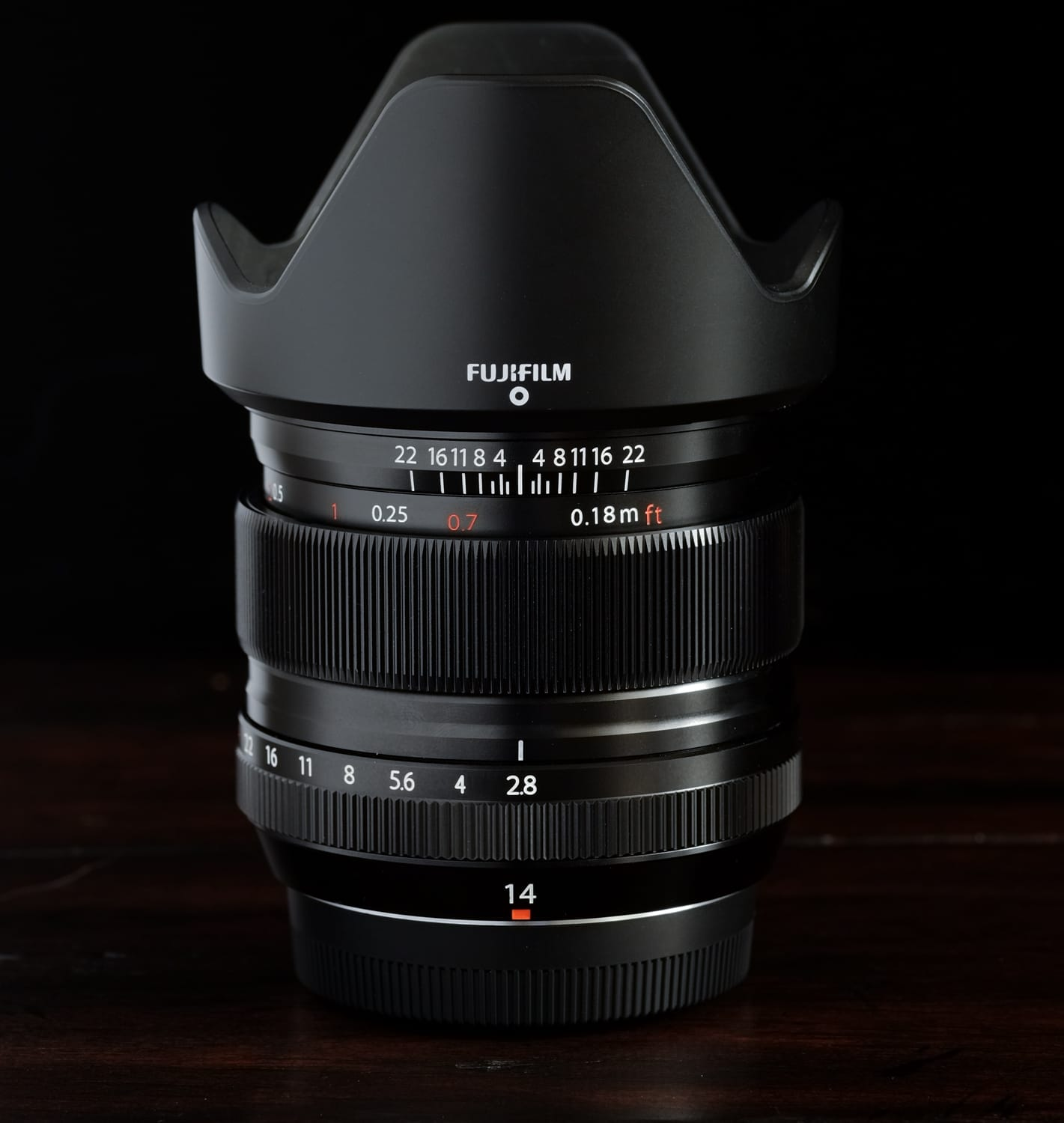 The FUJINON XF 14mm ƒ/2.8, and hood also suitable for the 18-55mm.