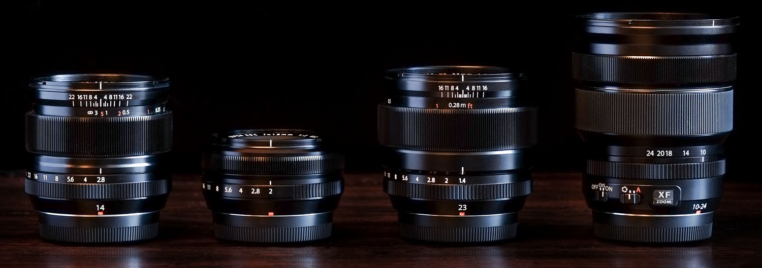 Fuji's 14mm f/2.8, 18mm f/2, 23mm f/1.4, and 10-24mm f/4 zoom
