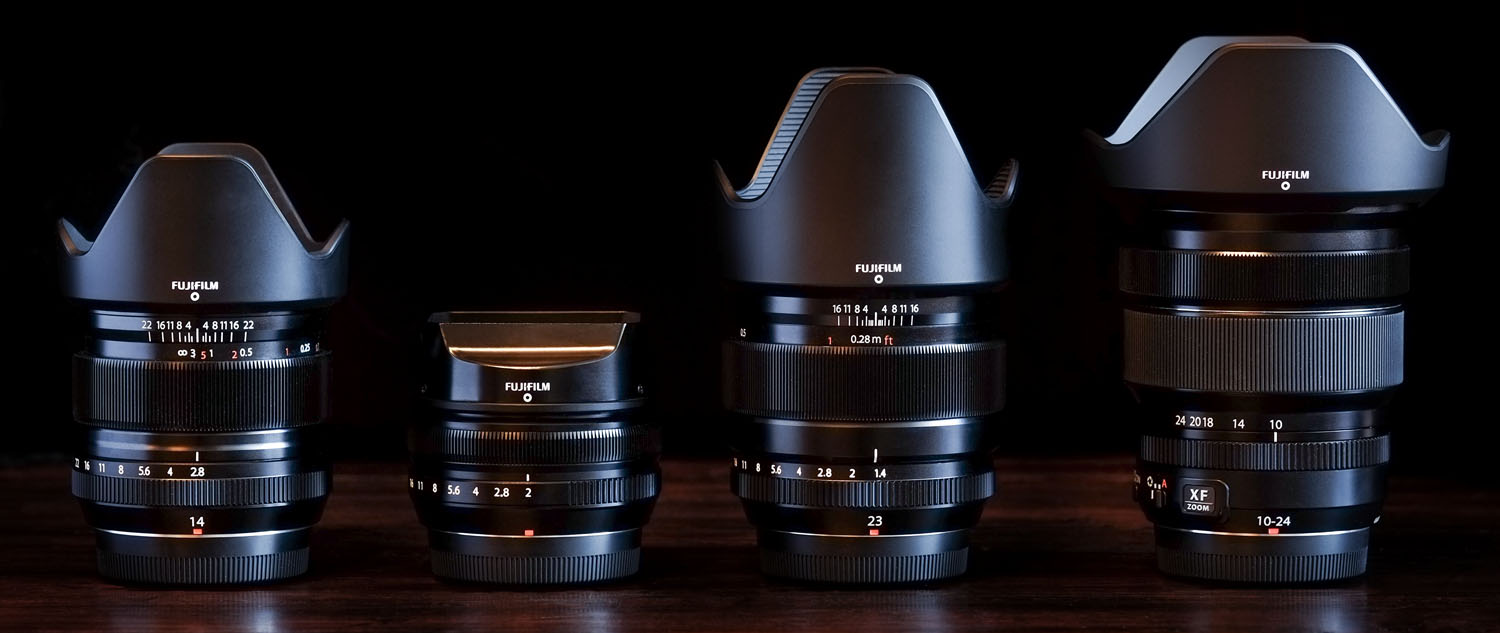 FUJI'S 14MM f/2.8, 18MM f/2, 23MM f/1.4, AND 10-24MM f/4 ZOOM with hoods