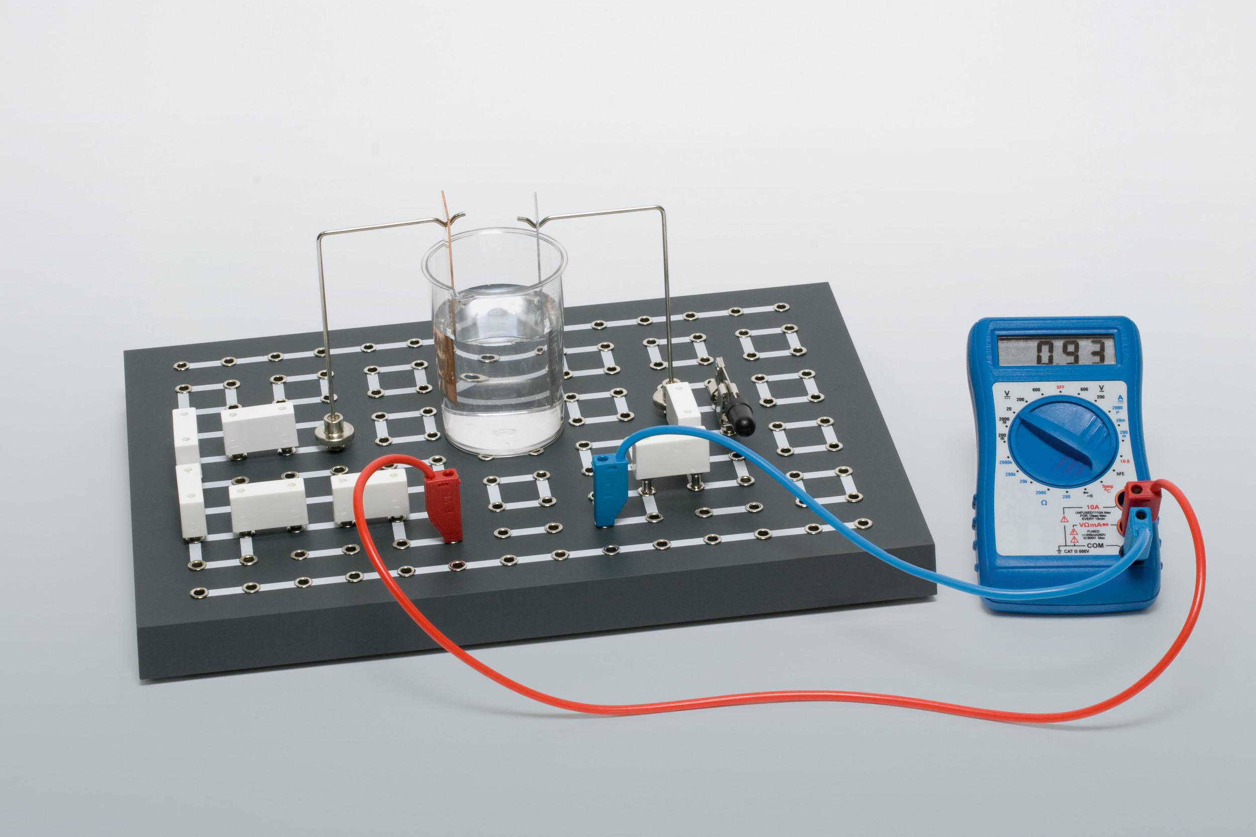 Experimento de condução de corrente em líquidos.