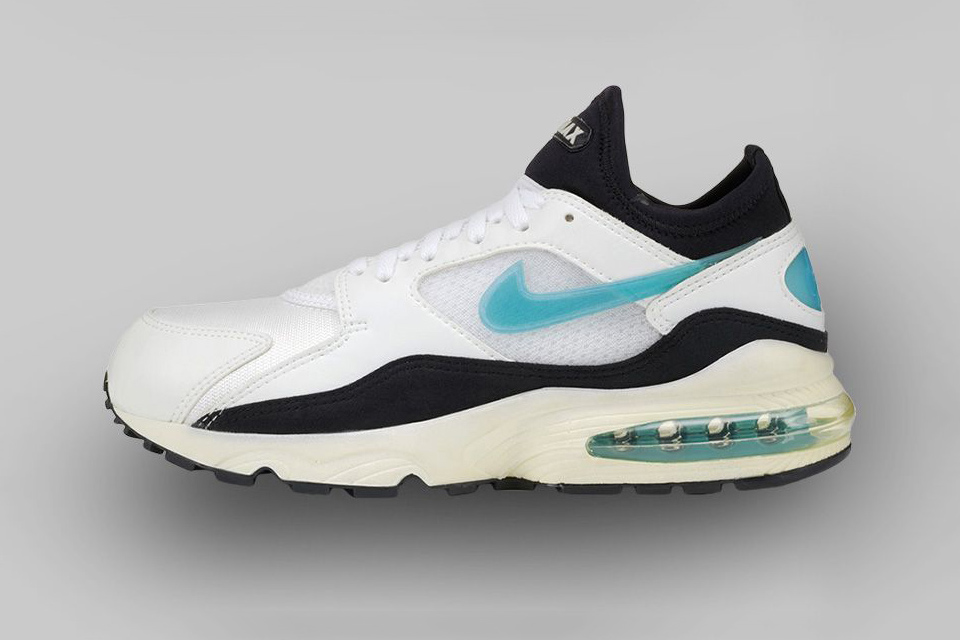 "AIR MAX 93 (1993) The concept of ""max Air"" reached a new well, maximum. Breakthroughs in blow-molding technology afforded room for 270 degrees of Air."