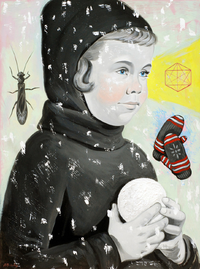 Handschuhschneeballwerfer   Acrylic on wood  Selected Communication Arts 54 Illustration annual