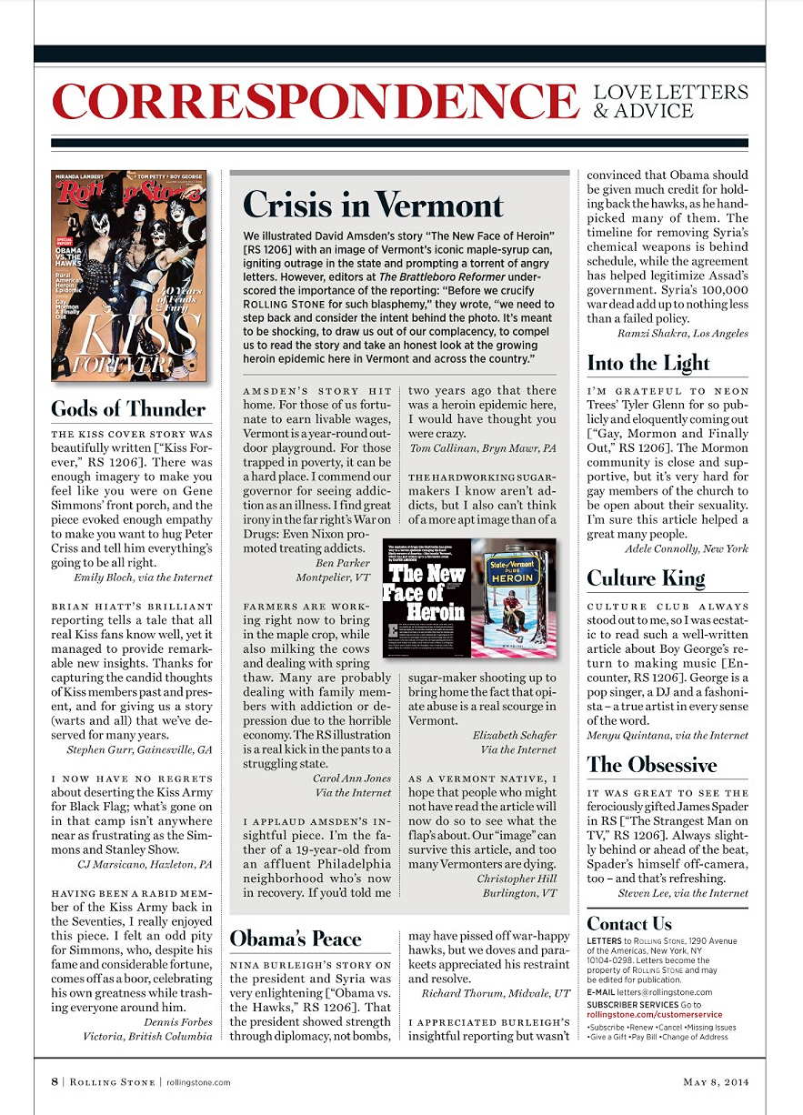 Rolling Stone magazine #1208 May 8, 2014 | Correspondence page about 'The New Face of Heroin' article and illustration from previous issue #1206.   Photo: Fredrik Broden   Painting: David M. Brinley    Lettering: Jon Valk