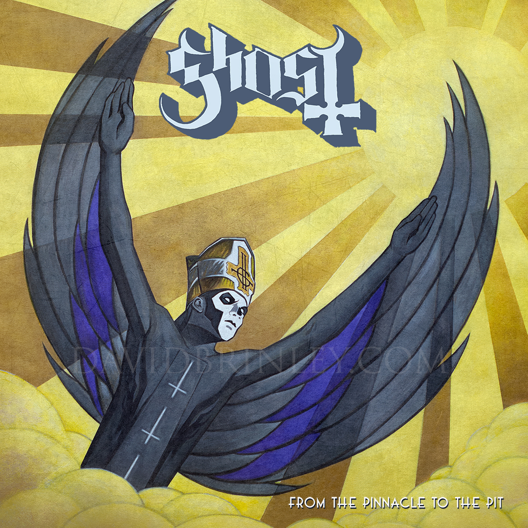 GHOST | From the Pinnacle to the Pit    Acrylic on paper and digital  Official single cover   Loma Vista Recordings