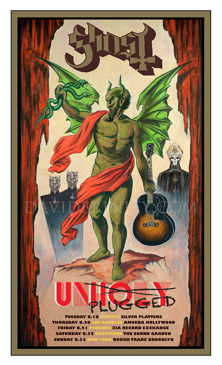 GHOST | Unholy/Unplugged acoustic tour 2015   Acrylic on paper and digital  Official limited edition tour poster