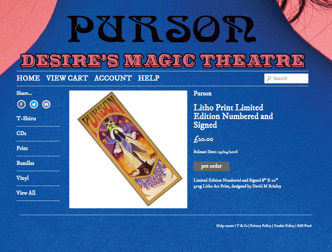 PURSON |  Desire's Magic Theatre Tour poster 2016   Acrylic on paper and digital | Official website tour poster