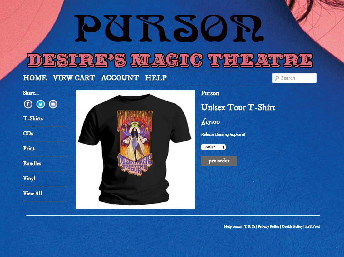 PURSON |  Desire's Magic Theatre Tour poster 2016   Acrylic on paper and digital | Official tour t-shirt