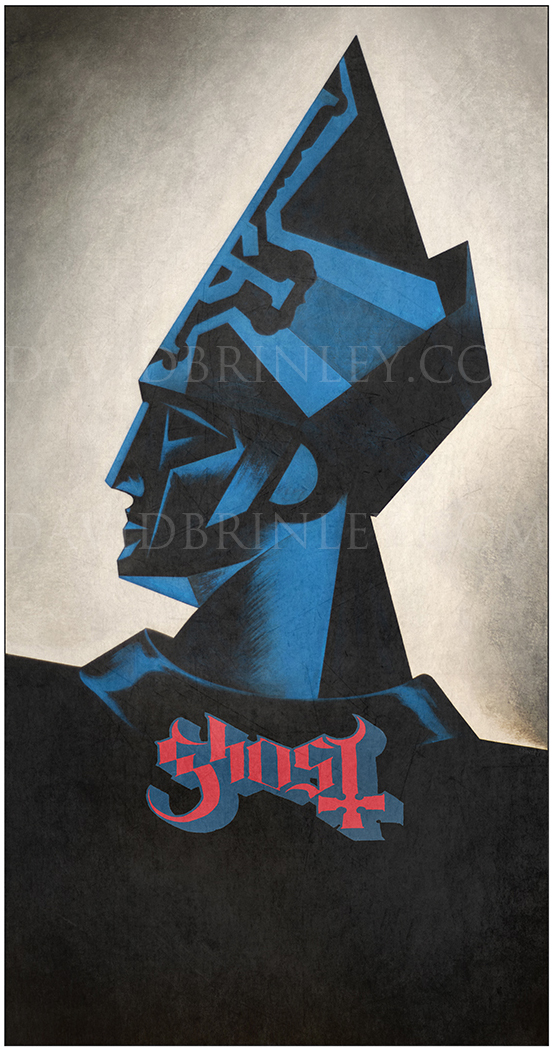 GHOST | 2016 VIP limited edition poster print   Acrylic on paper and digital   Spring 2016 USA tour illustration and design created for exclusive VIP package limited edition poster print.