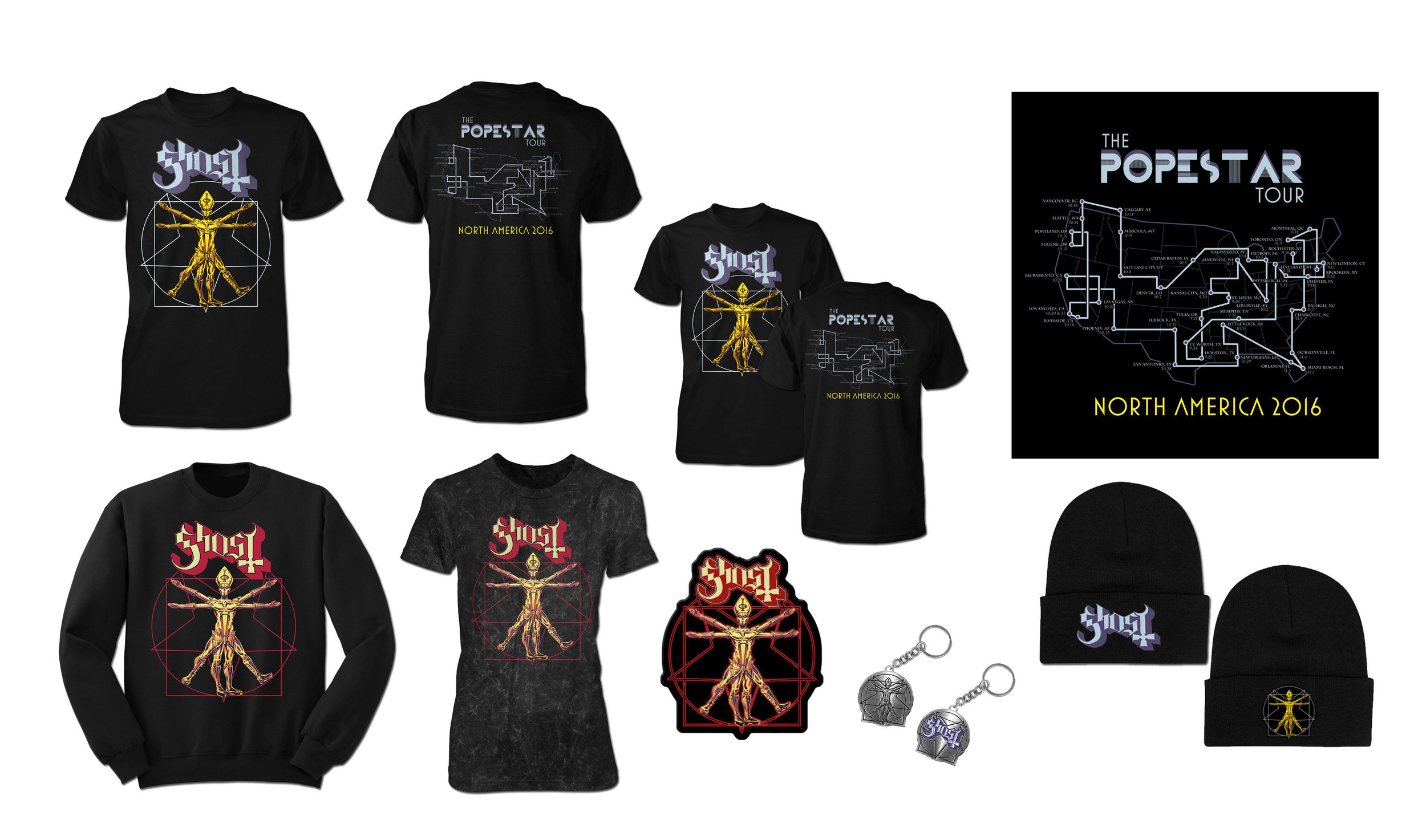 GHOST | Papa Vitruvius    The Popestar Tour 2016   Official band Popestar Tour merch