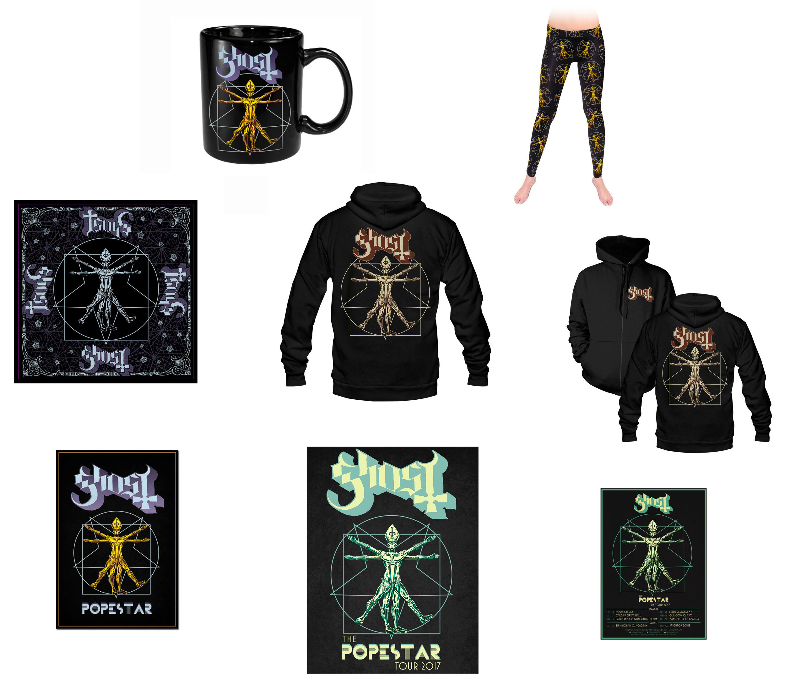GHOST | Papa Vitruvius    The Popestar Tour 2016 / 2017   Official band Popestar Tour merch