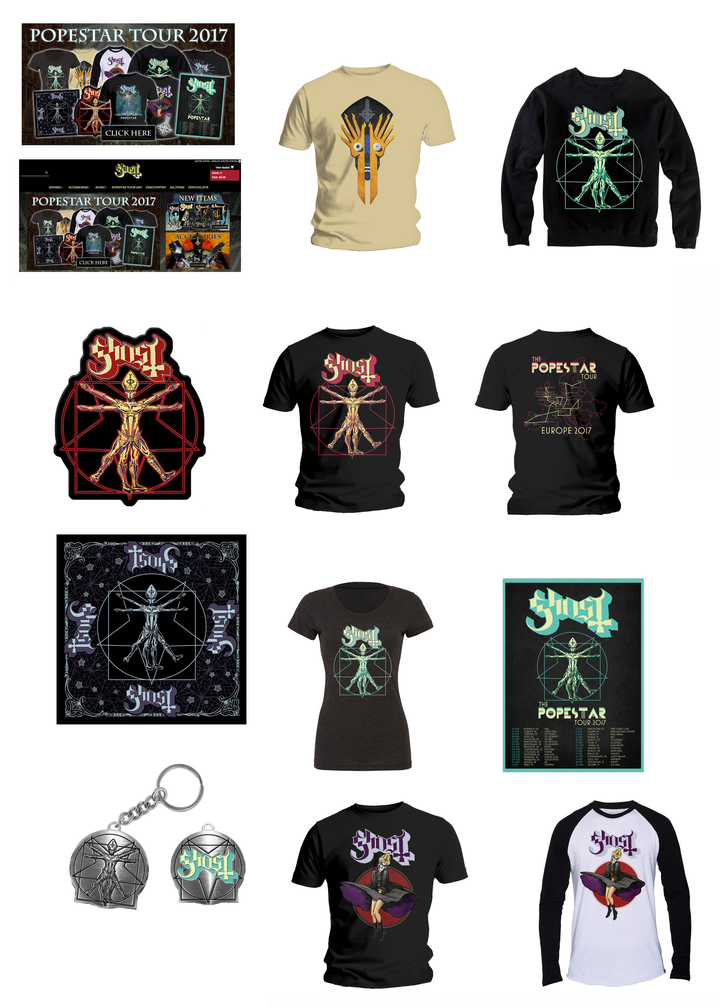 GHOST     The Popestar European Tour 2017   Official band Popestar Tour merch  David M. Brinley illustration and design