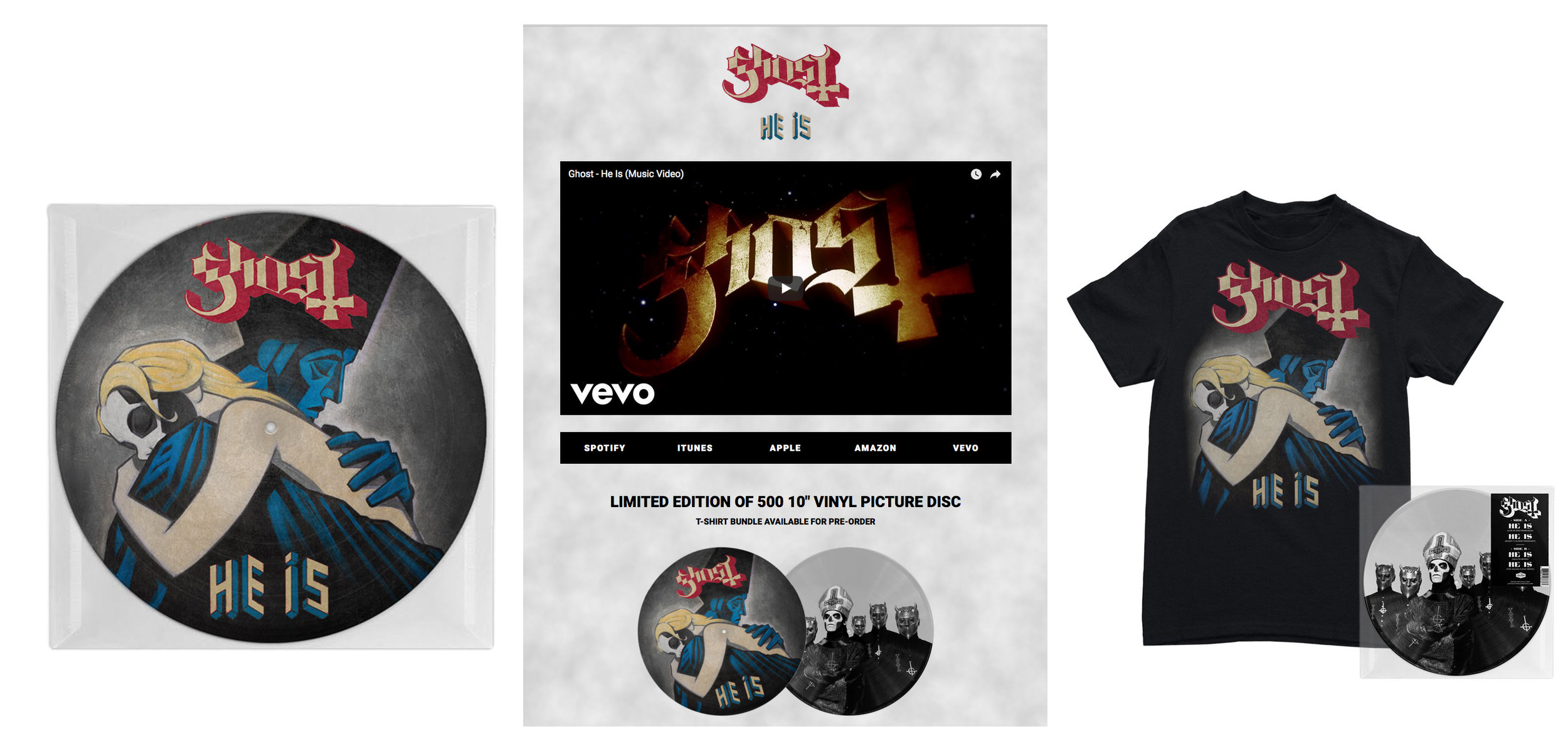 "GHOST | Official 'HE IS' 10"" picture disc and t-shirt bundle   Acrylic on paper and digital  Loma Vista Recordings"
