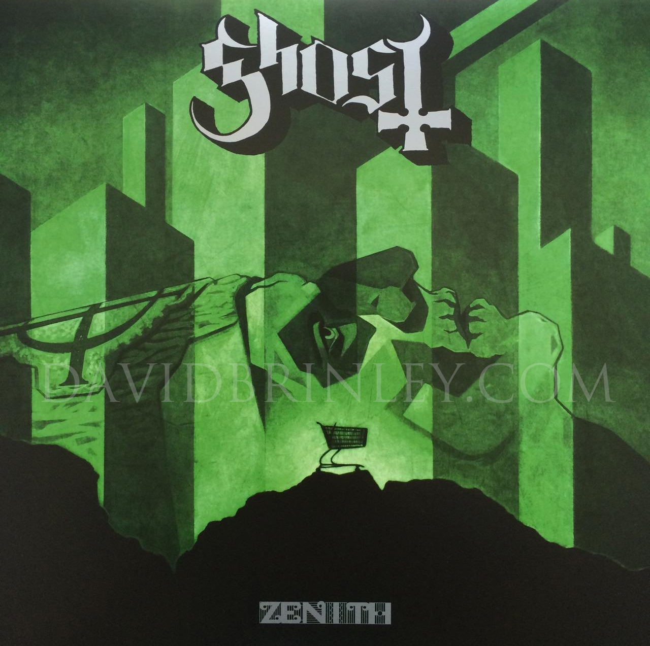 "GHOST | Zenith | Meliora limited edition album box set    Acrylic on paper and digital  Official single 10"" vinyl cover  Reaktor Recordings Sweden  limited edition of 5000 copies"