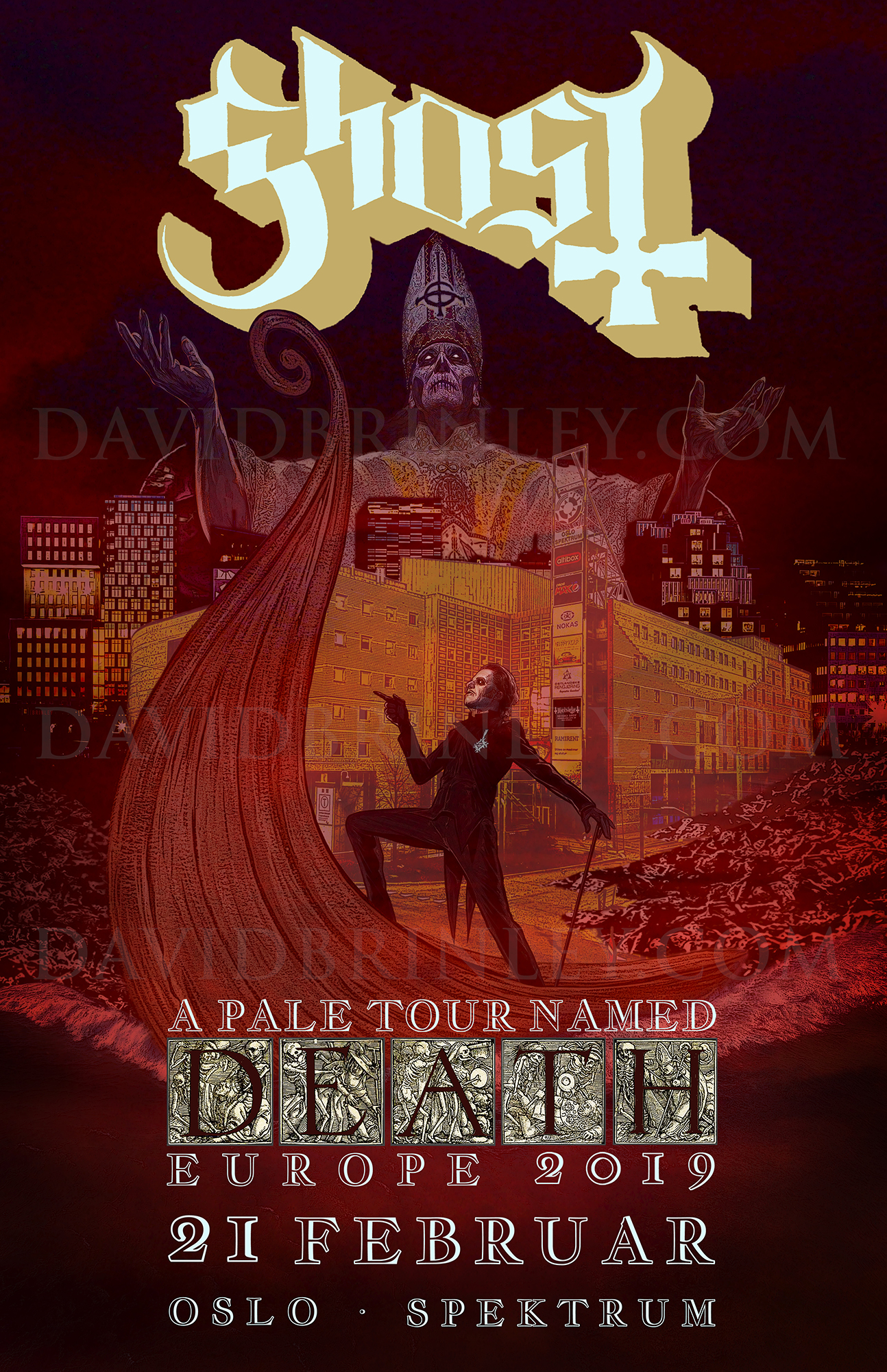 GHOST | Oslo Norway Spektrum | February 21, 2019   A Pale Tour Named Death Official poster  David M. Brinley | Illustrator Designer  Acrylic and Digital