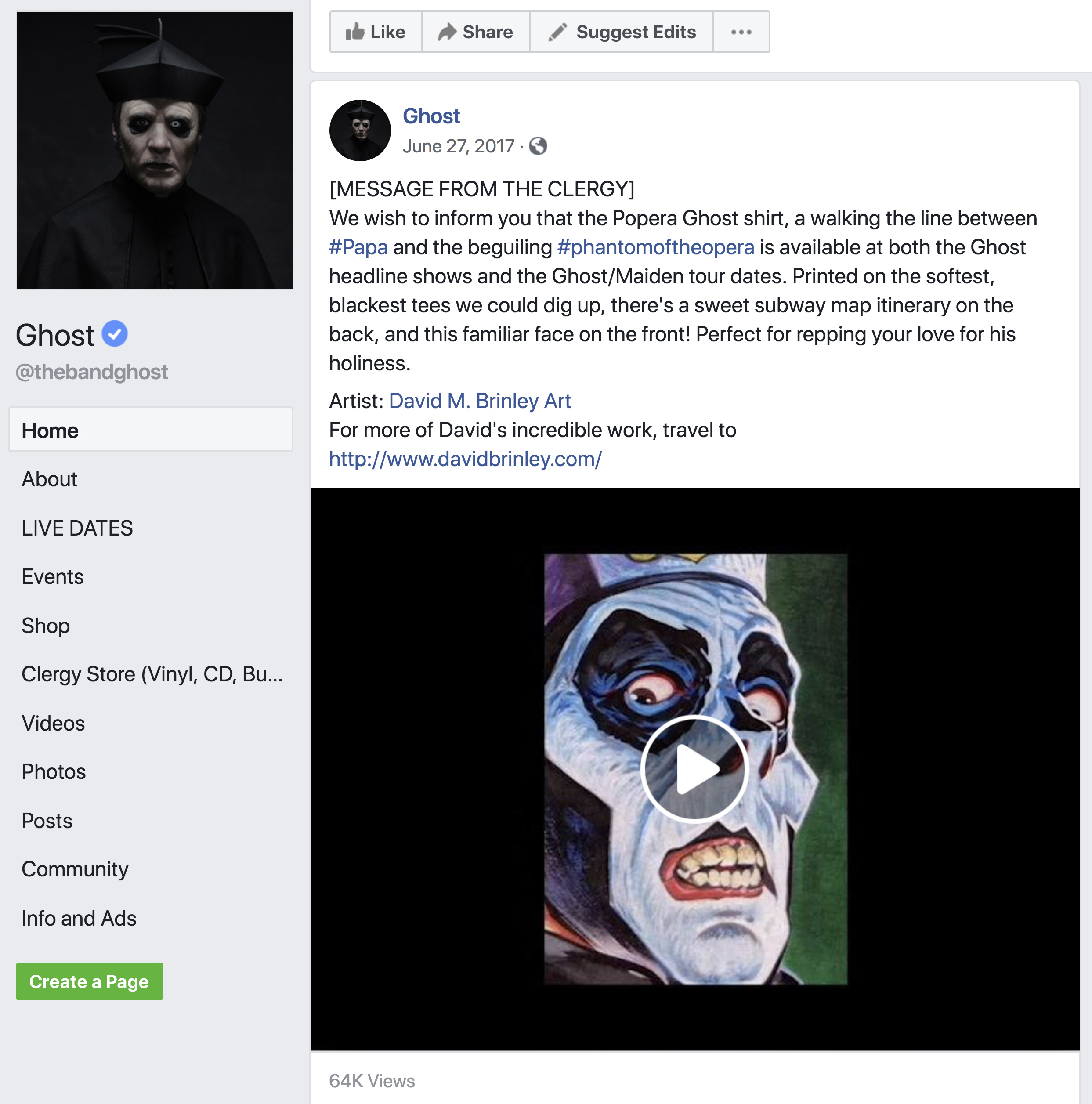 GHOST | Official Facebook post   David M. Brinley Illustration and Design