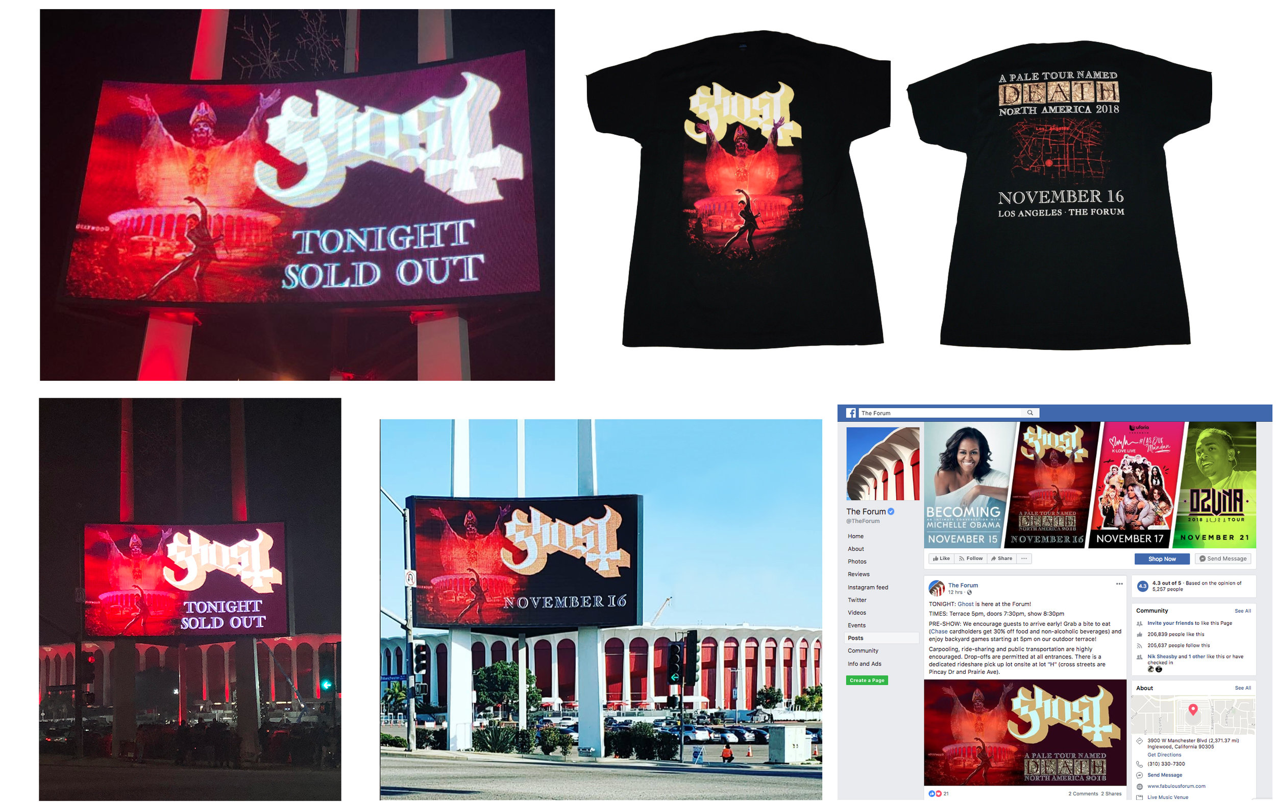 GHOST | Los Angeles Forum | November 16, 2018   Official limited edition concert t-shirt and billboard/marquee graphics