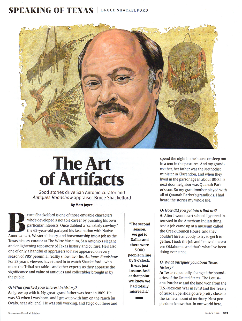 Bruce Shackelford, expert in Tribal Arts  | Texas Highways magazine | March 2019