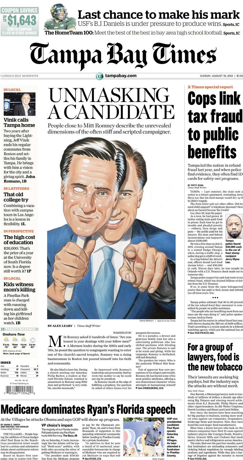 'Mitt Romney: Unmasking a Candidate'   | The Tampa Bay Times editorial portrait