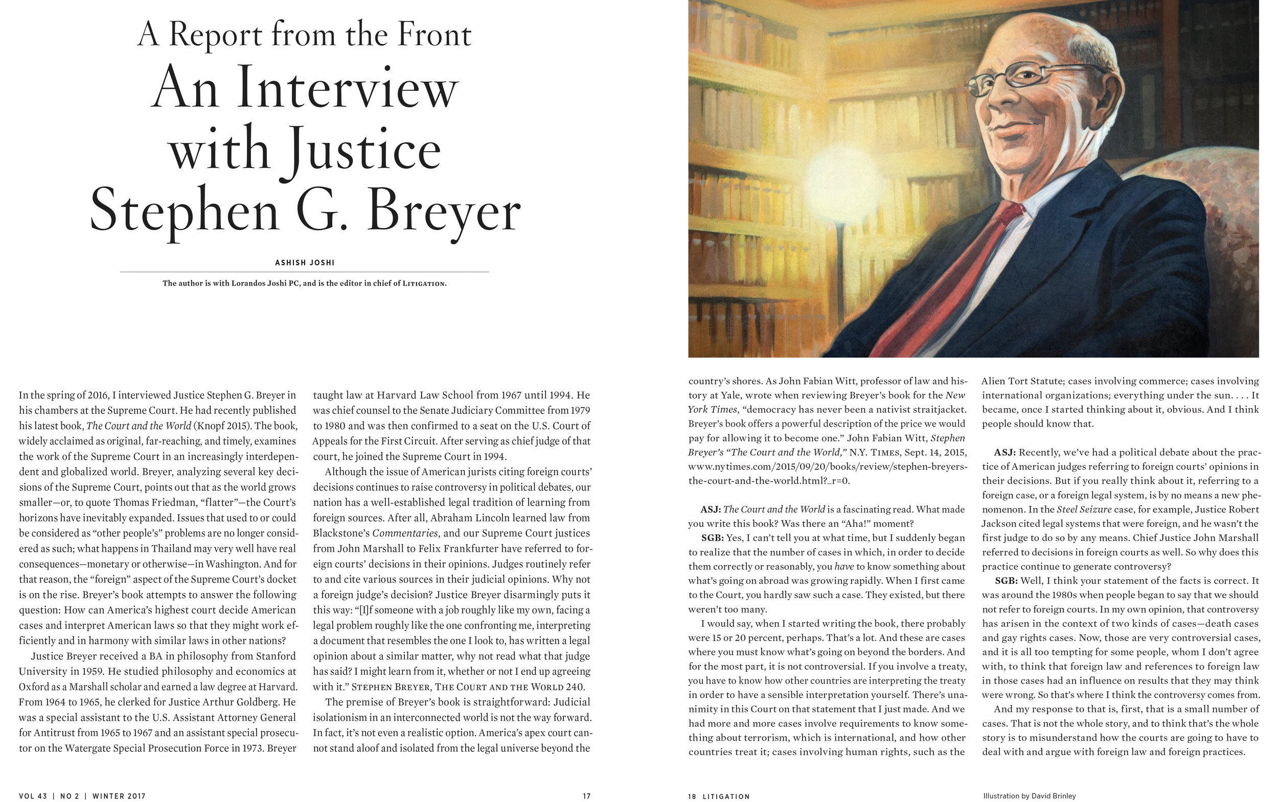 Justice Breyer  | Litigation magazine